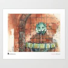 """Cathy Johnson, """"Hall of Waters Lion"""" Art Print by urbansketchers 