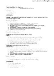 ... Fast Food Resume Skills Resume Sle For Cashier In Fast Food ...