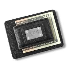 a black leather money clip card holder that we ll engrave for the groomsmen