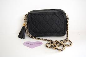 Small Black Vintage Quilted Fabric Chanel Shoulder Bag with Tassel ... & Small Black Vintage Quilted Fabric Chanel Shoulder Bag with Tassel Charm  for $300 at Lollipuff Adamdwight.com