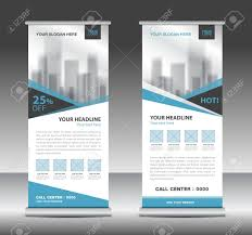website advertisement template blue roll up business brochure flyer banner design vertical template