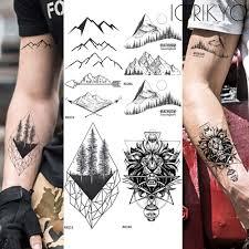 стрелка дейл временная татуировка мужчины рука геометрические горы черные