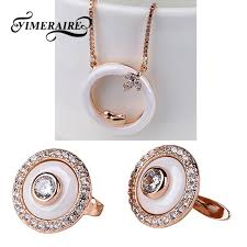 2019 new 585 rose gold ceramic women jewelry set rhinestone round stud earrings cute bird pendant necklace for lady anniversary gifts from qiuyeluo