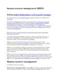 Personnel Management Job Description Doc Human Resource Management Hrm Abrhaley Tewelemedhin