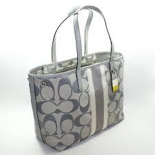 Home · Coach · Hamptons Signature Stripe Medium Tote Bag Grey. CLICK  THUMBNAIL TO ZOOM. Found ...