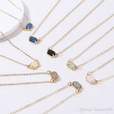whole 2018 latest whole single small druzy stone pendant necklace fwinter jewelry gold tone thin chain nickle free key necklace bar pendant necklace
