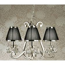 oksana small 3 light traditional nickel chandelier with black shades