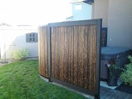 Hot tub privacy screen made of bamboo.