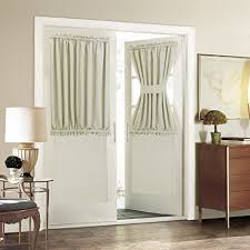 front door with window. Blackout French Door Curtain For Privacy - Aquazolax Soft Fabric 54x40-Inch Solid Window Drapery 1 Panel, Light Saga Beige Front With