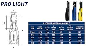 Cressi Pro Light Size Chart Cressi Pro Light Open Heel Diving Fin Black With Bag X Small Us Mens 8 10