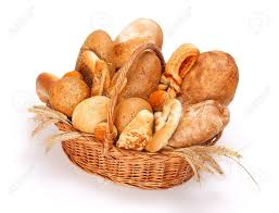 Fresh Baked Bread And Pastry In Basket On White Background Stock
