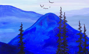 paint it blue easy mountains acrylic tutorial asl