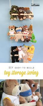 get those stuffed animals off the ground with this easy to build DIY  hanging toy storage