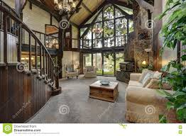 Modern Wooden Cottage House Interior With Living Room Close Up - Cottage house interior design