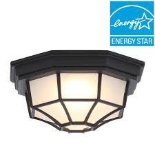 hampton bay black outdoor led flushmount flush mount porch light a56