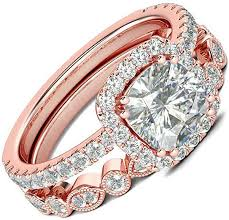 AONEW <b>Engagement</b> Wedding Halo <b>Ring</b> Set Rose Gold <b>2pcs</b> 1.5ct…