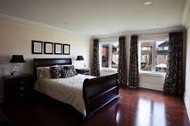 when your bedroom is filled with dark brown furniture pieces you have various good color combo options like beige off white bamboo brown or cream