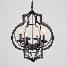 details about retro candle style black iron round lantern 6 lights loft ceiling pendant lights