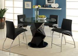5 pc halawa iii collection contemporary style black finish counter height pedestal and round gl top dining table set this set features a dining table