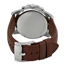 fossil grant chronograph egg shell dial brown leather mens watch item specifics