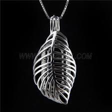 latest design 925 sterling silver leaf cage pendant