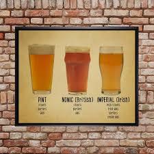 Types Of Drinking Glasses Chart Beer Poster Bar Art Beer Glass Print Glass Chart Types Varieties Mug Pints Wall Art Home Decor Vi364