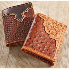 2 hand tooled leather wallets 1 ostrich look 1 brown weave