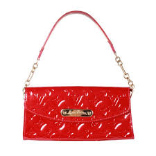 louis vuitton sunset boulevard red patent leather clutch