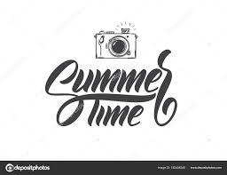 ベクトル イラスト 手描きフォト カメラで夏の時間のレタリングの組成を