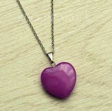 details about lovely purple jade heart pendant necklace reiki healing las gift steel chain