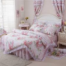pink blue cotton lace korea style fl girls bedding set king queen twin size bed