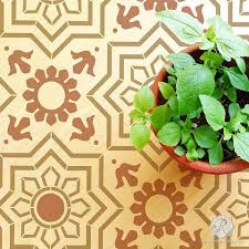 painted tile designs. Geometric Decorative Faux Painted Tile Design For Wall Murals And Floor Makeovers - Marbella Stencils Designs