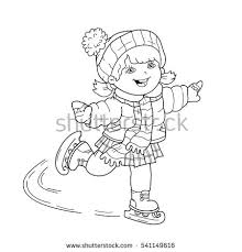 Small Picture Coloring Page Outline Cartoon Girl Skating Stock Vector 541149616