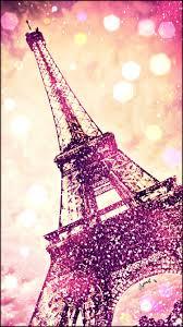 Glitter Pink Eiffel Tower Wallpaper