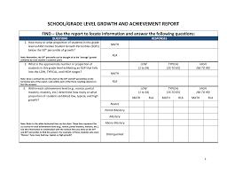 School Grade Chart School Grade Level Growth And Achievement Report