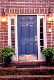 blue door house. Blue Doors, Color Blue, Brick Exterior, Front Door Colors, House Color, Houses, Red Brick, Exterior |