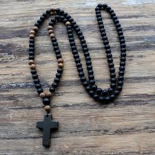 black rosary wood beads with black stone cross pendant