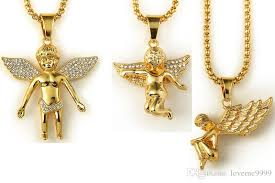 2019 high quality 18k real gold plated men s hip hop boy girl angel wing tag pendant necklace 80cm long mens hip hop rock angel necklace jewelry from