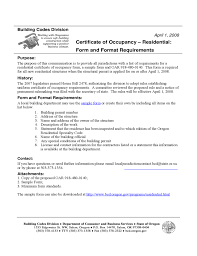 Certificate Of Occupancy Template Rent Certificate Sample Form