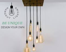 design your own lighting. Custom 7 Pendant Wood Chandelier X Large Edison Bulbs Industrial Light Square - Design Your Own Lighting U