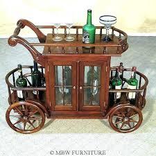 wooden tea cart serving