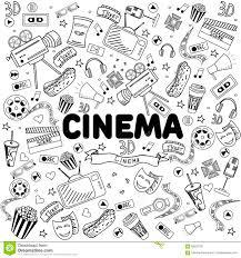 Linea Illustrazione Del Cinema Di Vettore Di Progettazione Di Arte