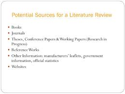 literature review yada wazaify phd ppt  potential sources for a literature review