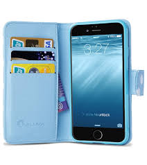 leather book folio wallet case for iphone 6 4 7 blue white