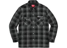 Supreme Independent Quilted Flannel Shirt Black &  Adamdwight.com