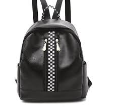 racing check womens faux leather rucksack lightweight school backpack casual zipper daypack black white racewear gear jansport backpacks school bags from