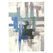 blue and white abstract rug 4 ft x 6 area grey contemporary modern ivory medallion
