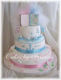 3 Tier Christening Cake For Boy Girl Twins Cakes Cupcakes Etc