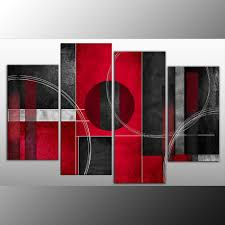 rosso nero abstract canvas wall art print 4 panel black red grey 40 inch