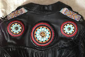 hawk cycle mens custom beaded fringed leather motorcycle jacket back top detail